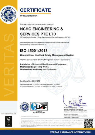 NCHO Engineering has successfully achieved ISO45001:2018 standard for health and safety management