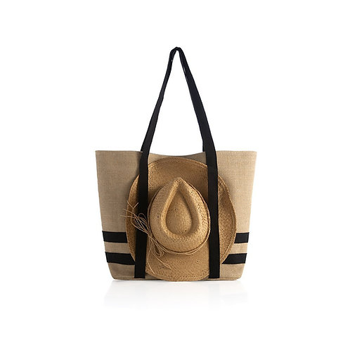 Sunny Beach Tote with Hat - Natural