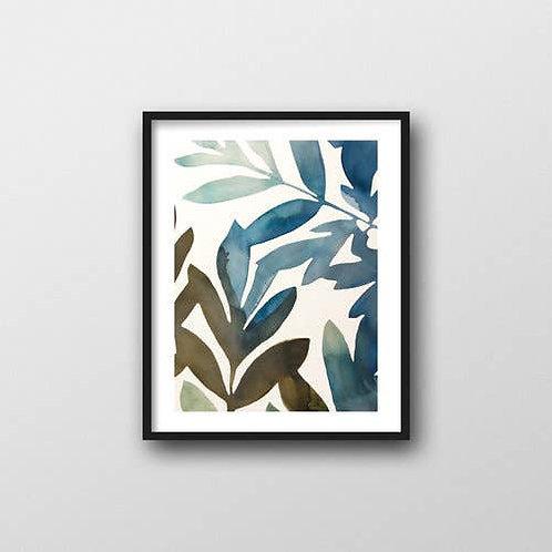 Leaves on Blue Art Print