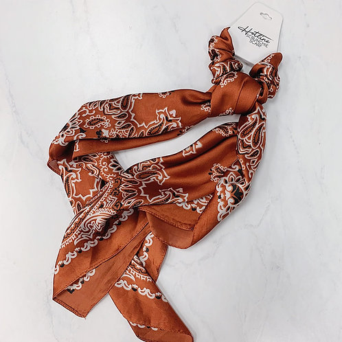 Paisley Handkerchief Scarf/Scrunchie - Burnt Orange