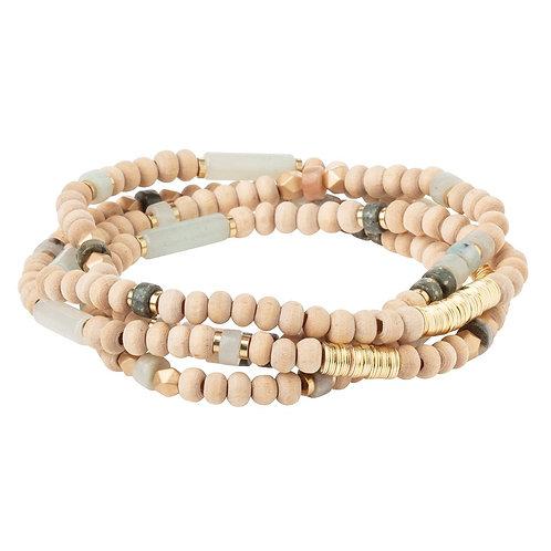 Stone of Courage w/Wood - Wrap Bracelet/Necklace