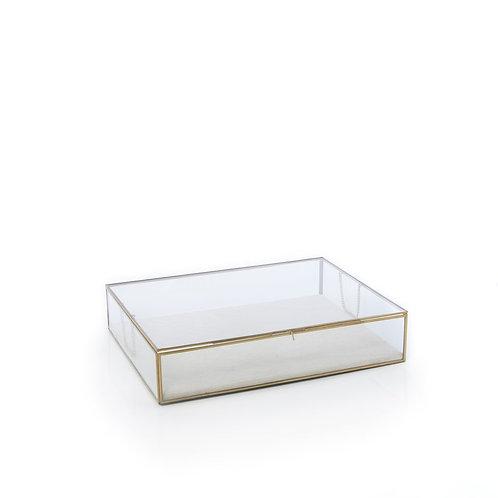 Lg - Brass & Glass Jewelry Display Box