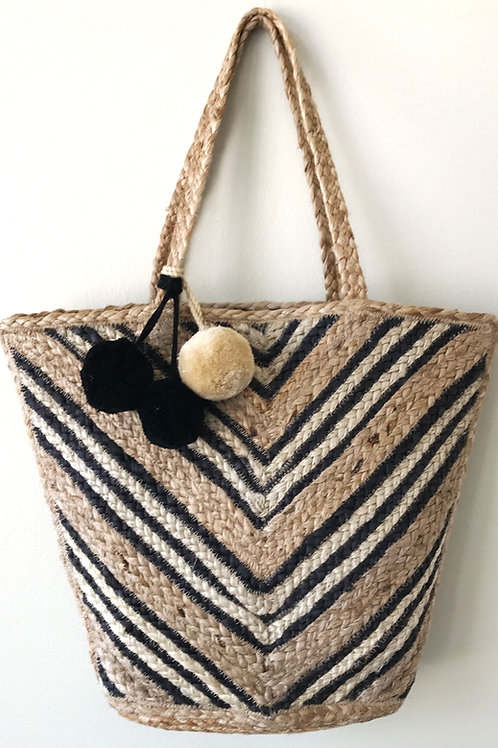 Cheveron Jute Big Basket Bag