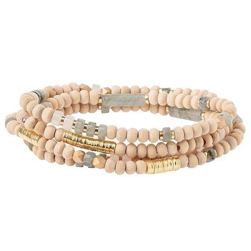 Stone of Heart w/Wood - Wrap Bracelet/Necklace