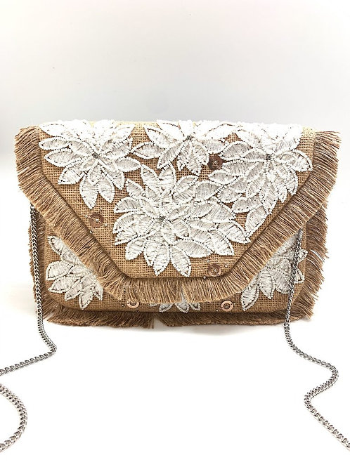 White Applique and Silver Bead Clutch