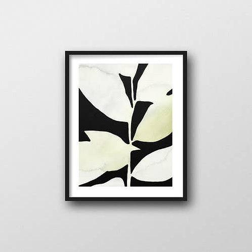 Leaves on Black Art Print