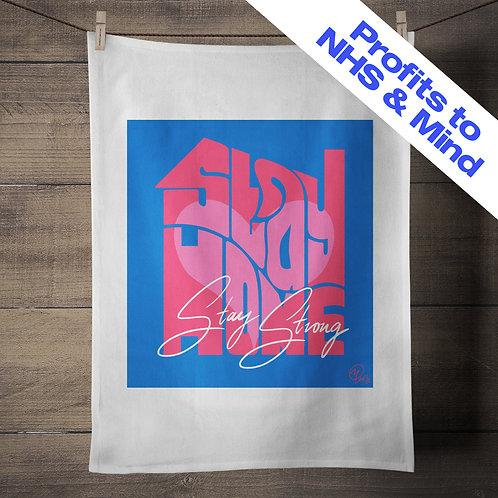 Miss Led - Stay Home - Screenprinted Tea Towel - Blue & Pink