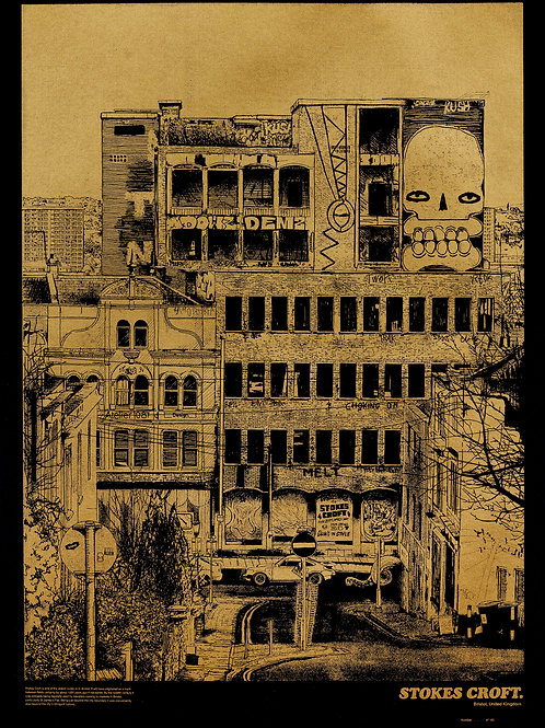 Stokes Croft Limited Edition gold screenprint on 220gsm black art paper