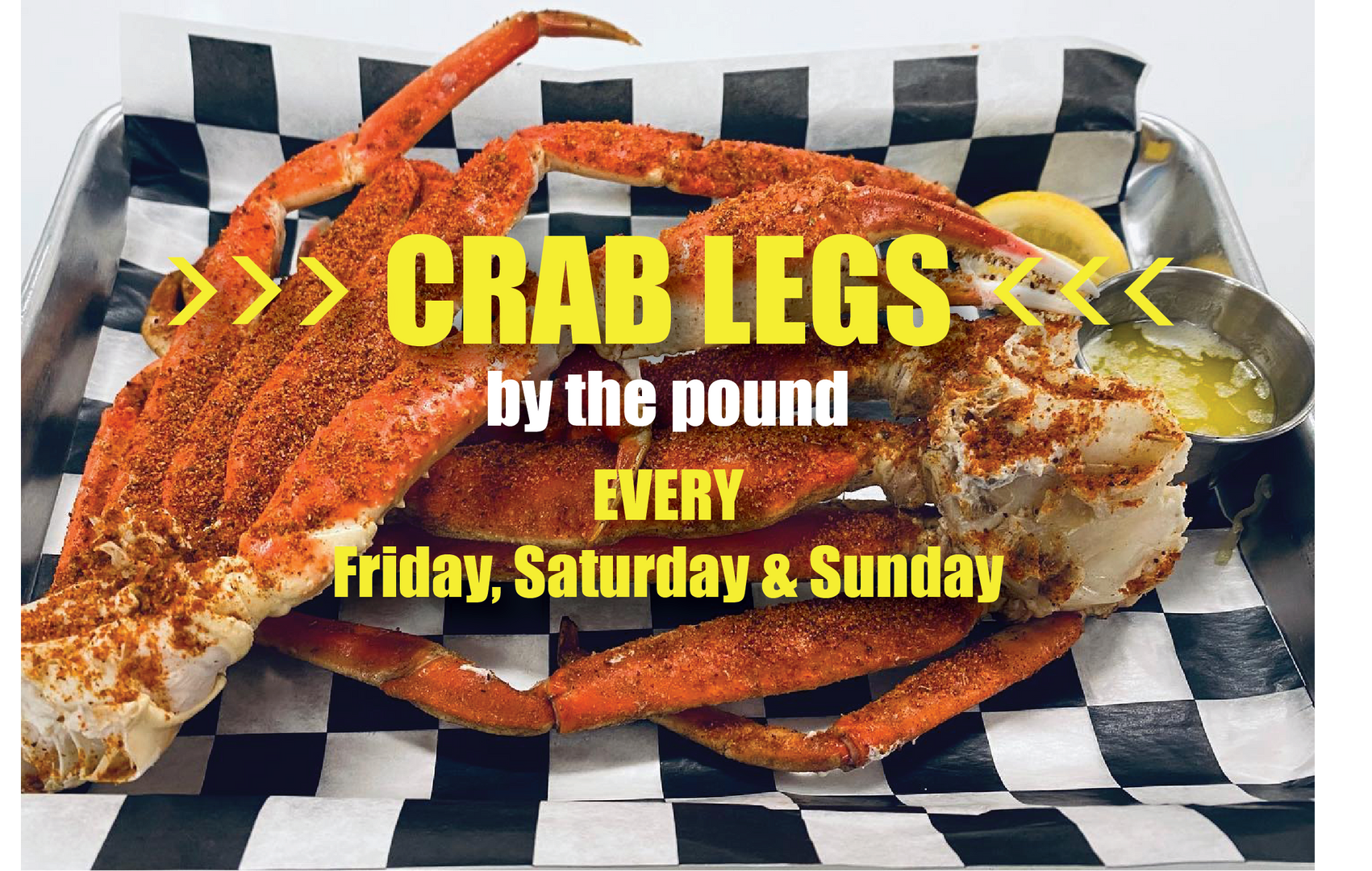 Crab Legs by the Pound at Dudley's!