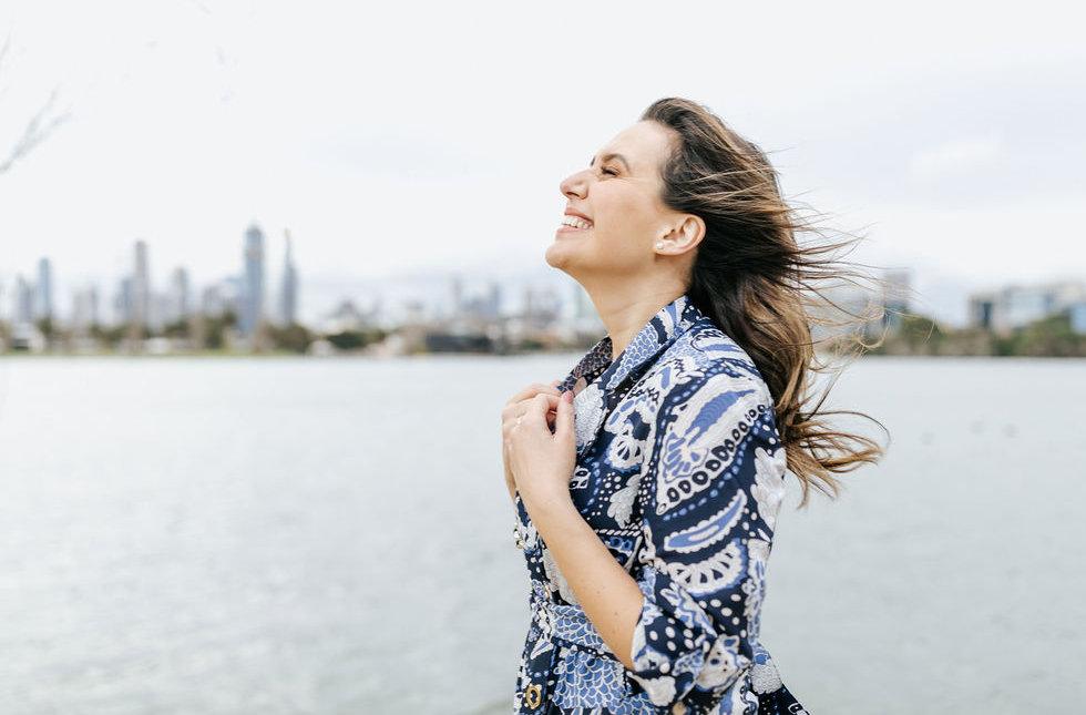 A woman feeling free