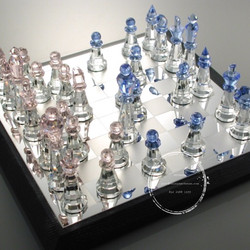 crystal chess set with wood packing