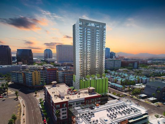 Construction Starts On 30-Story Apartment Building In Downtown Phoenix.