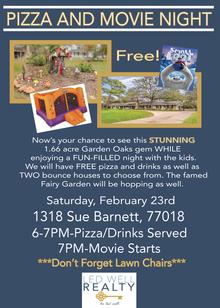 1318 Sue Barnett Open House Backyard Pizza and Movie Night