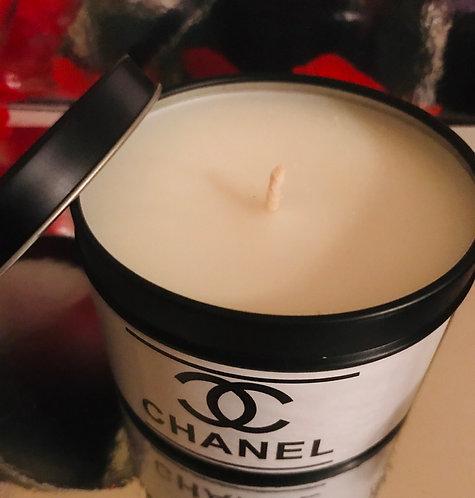 Chanel #5  inspired Black Tin Handmade Candle