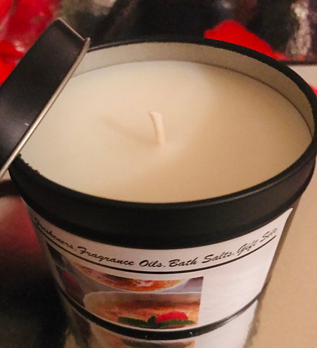 Creme Brûlée Scented Black Tin Handmade Candle