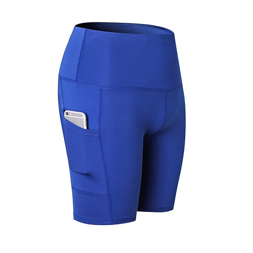 Blue High Waist Yoga Shorts
