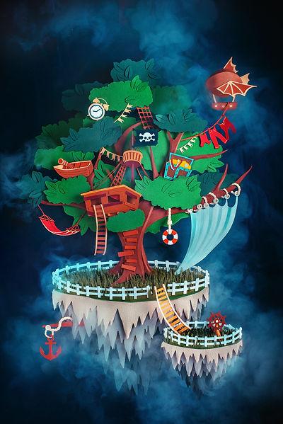 Pirate treehouse on a floating island ma