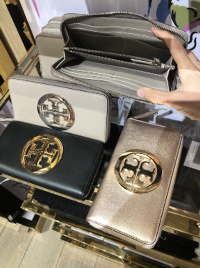 TORY BURCH CHARLIE ZIP CONTINENTAL WALLET ROSEGOLD