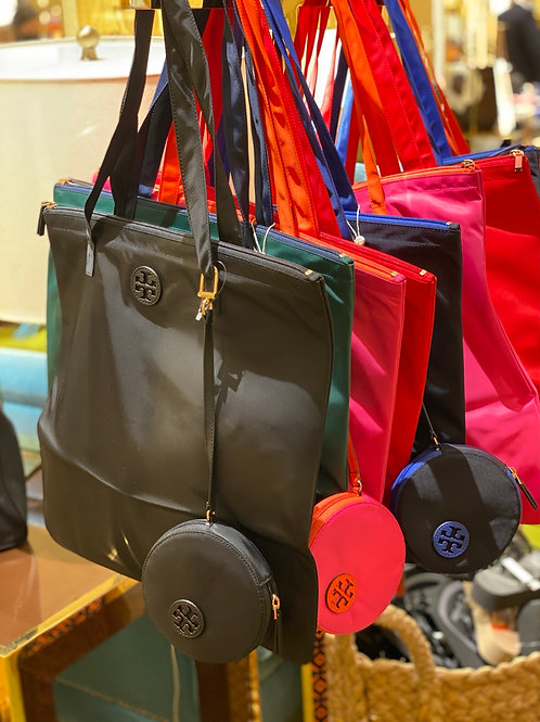 TORY BURCH  NYLON TOTE WITH POUCH