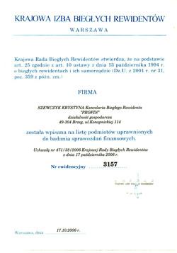 Wpis na listę podmiotów KRBR 3157