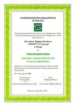 Sygnatariusz Kodeksu Etyki Zawodowej