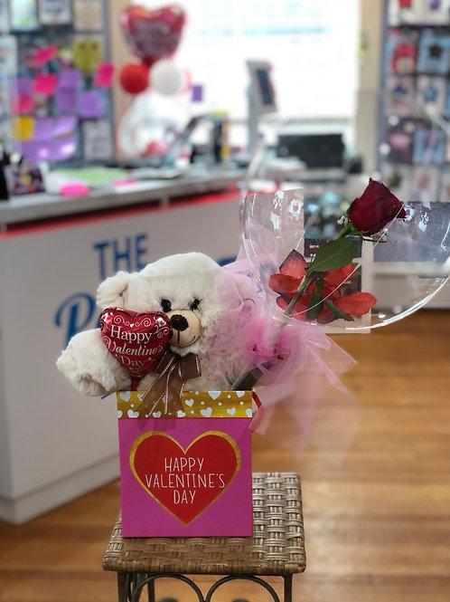 Real Rose stuffed balloon with teddy bear.