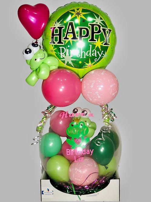 Happy birthday frog hoppy