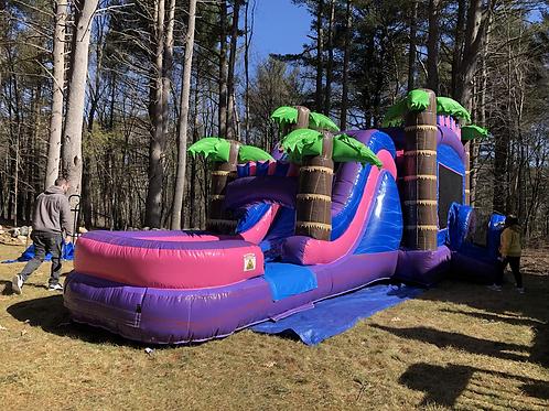 Mega Tropical Purple Marble Water Slide Bounce House Combo