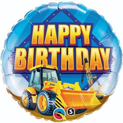 "CONSTRUCTION ZONE FRONT LOADER happy birthday 18"" balloon dump truck"