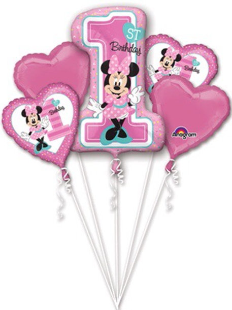 Minnie Mouse pink 5pc foil set. 1st birthday