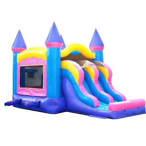 Kids Pink Bounce House and Double Lane Slide Combo