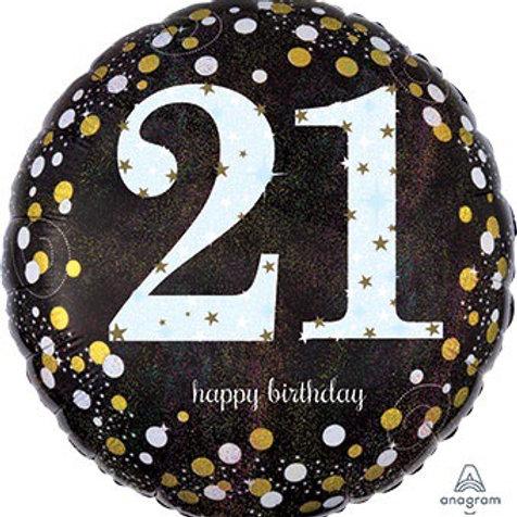 18C HB 21 SPARKLING happy 21st BIRTHDAY (HOLO)(PKG)*