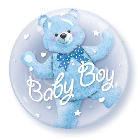 BUBBLE (DOUBLE) 24C BABY BOY BLUE BEAR its a boy