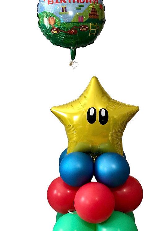Happy Birthday Super Mario Brothers gamer mini balloon display
