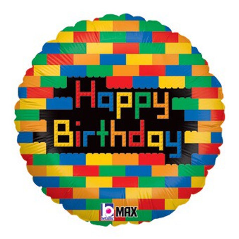 "Lego blocks 18"" balloon happy birthday"