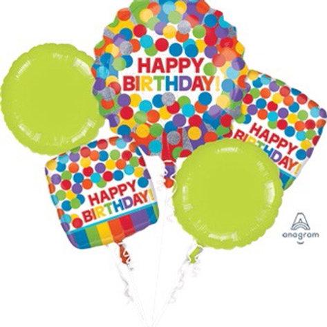 5 foil set BOUQUET HB PRIMARY RAINBOW happy birthday