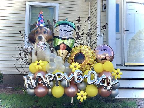 Happy birthday Display sunflower Celebrate champagne dog