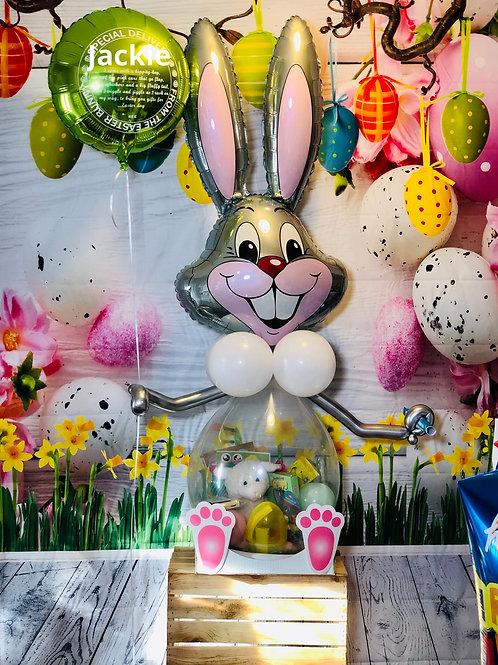 Silver stuffed balloon bunny basket