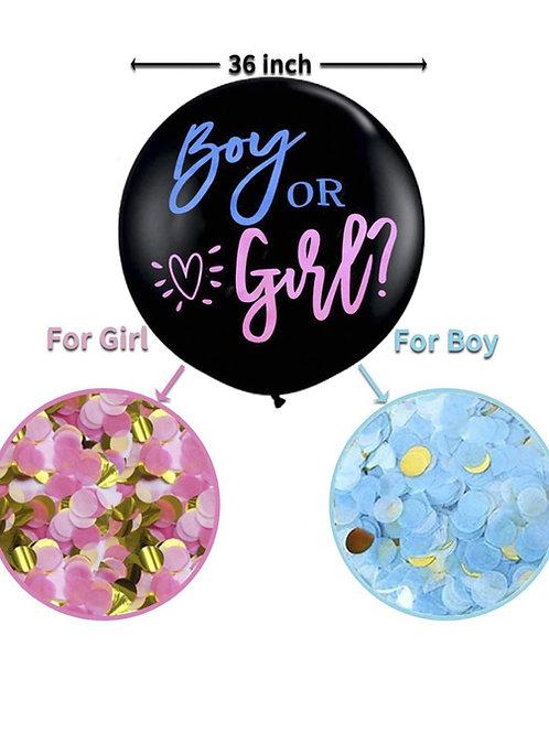 "36"" Gender Reveal balloon conffeti bandy shower boy or girl"
