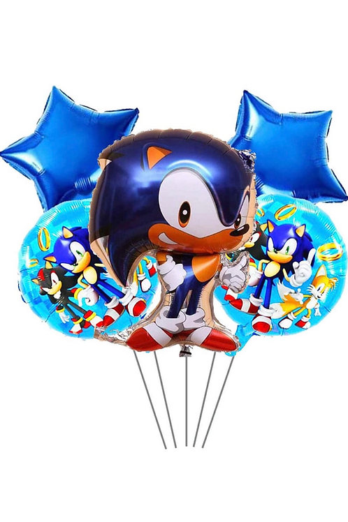 5pc Sonic the hedgehog foil balloon set