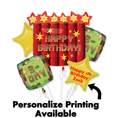 Happy birthday minecraft balloons Bouquet foil set