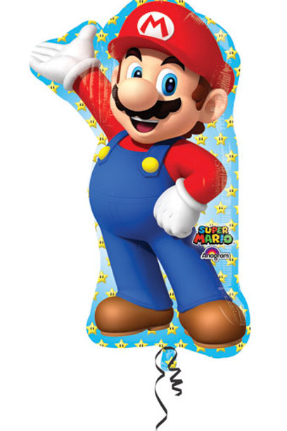 "XL 38"" supershape  balloons super mario brothers bros gamer"