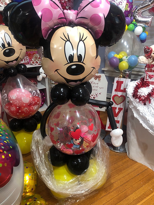 Kids Mickey or Minnie Mouse Vday stuffed balloon