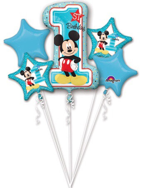 Mickey Mouse foil set blue 1st birthday