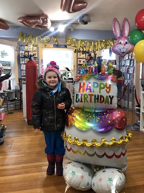 4.5 foot tall Balloon Tower birthday cake Happy birthday