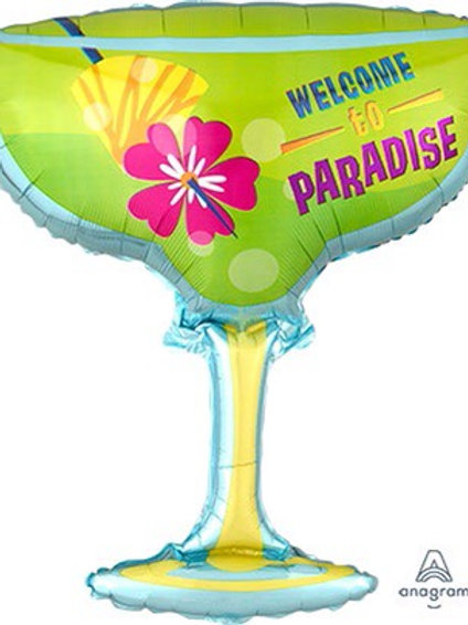 """LRG SHP WELCOME TO PARADISE MARGARITA GLASS 28"""" Tiki Party"""