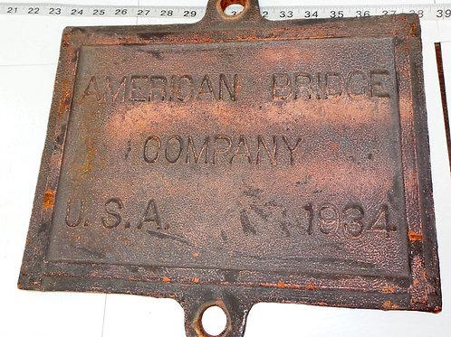 1934 American Bridge Co - Plaque