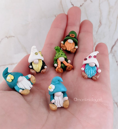 SIX (6) Tiny Gnomes Set -MIXED Leprechauns, Ladybug, Flower and Bees