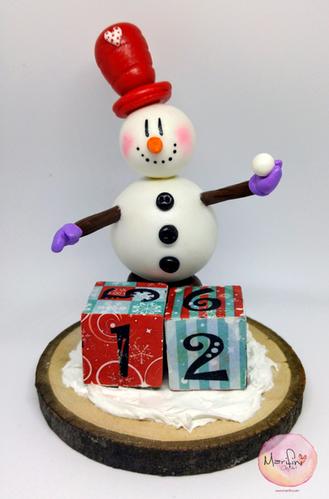 Polymer clay snow man figure