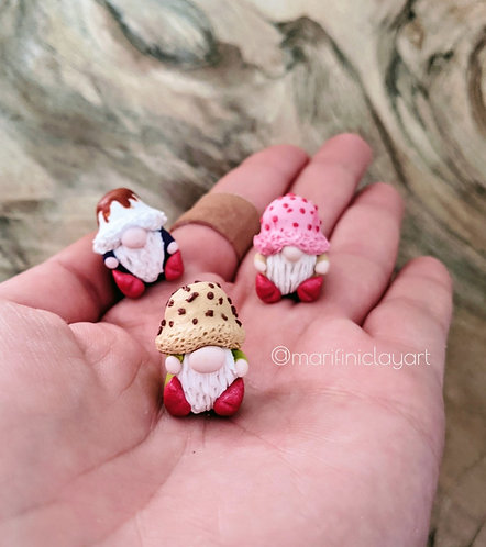THREE (3) Tiny Gnomes-ICE CREAM (PACK 2)